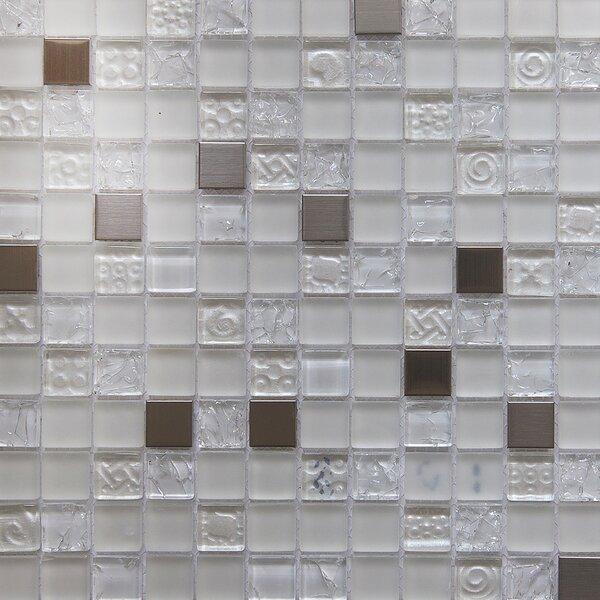 Mini Teseo Diana 1 x 1 Glass/Stone Mosaic Tile in White/Gray by Matrix Stone USA