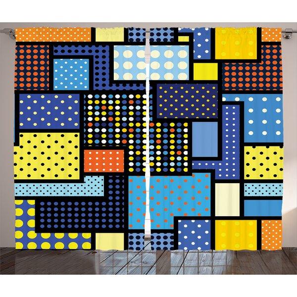 Covin Oriental Moroccan Motifs in Ethnic Retro Colors Eastern Arabesque Boho Graphic Print & Text Semi-Sheer Rod Pocket Curtain Panels (Set of 2) by Latitude Run