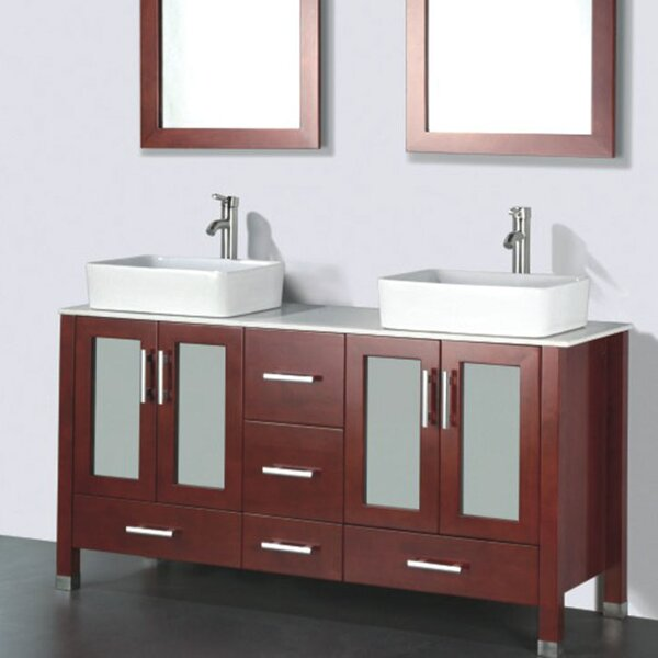 Adrian 59 Double Bathroom Vanity Set with Mirror by Adornus