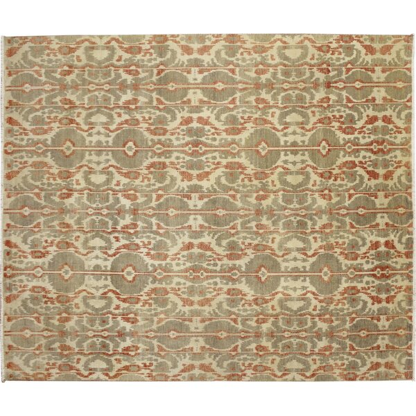 One-of-a-Kind Fine Ikat Meryem Hand-Knotted Beige Area Rug by Noori Rug