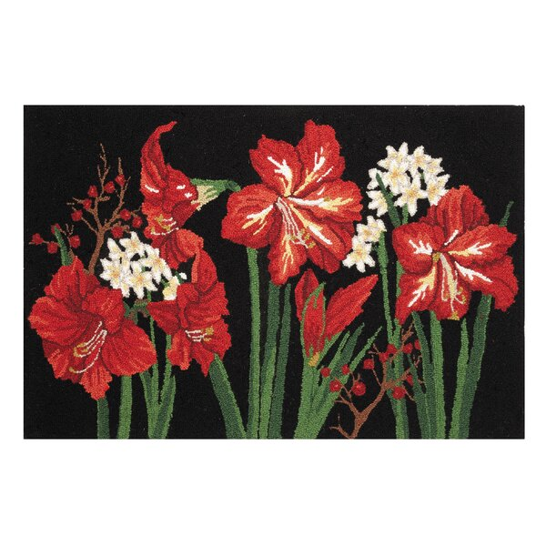 Mastropietro Christmas Bloom Hand-Hooked Wool Black/Red Area Rug by The Holiday Aisle