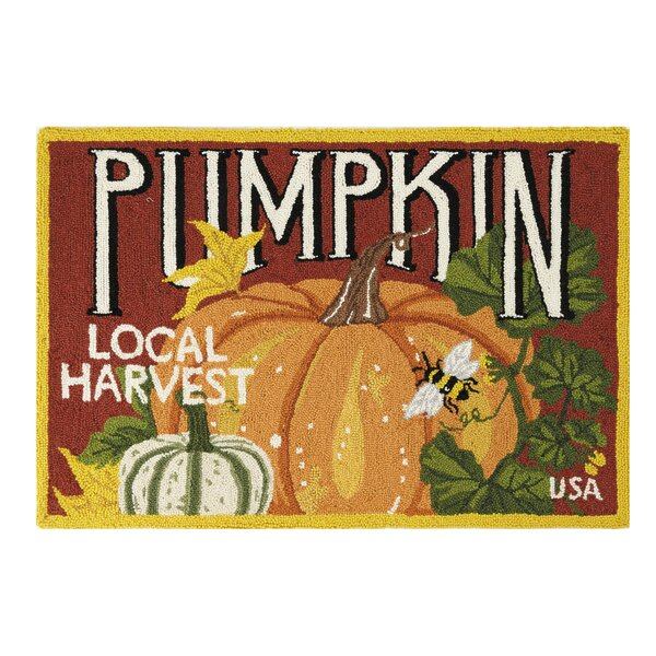Cope Pumpkin Local Harvest Hand-Hooked Wool/Cotton Orange/Maroon Area Rug by The Holiday Aisle