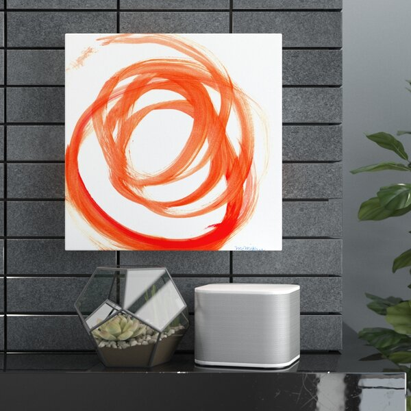 Orange Swirl Ii Framed Print On Canvas In Orange White By Wade Logan.