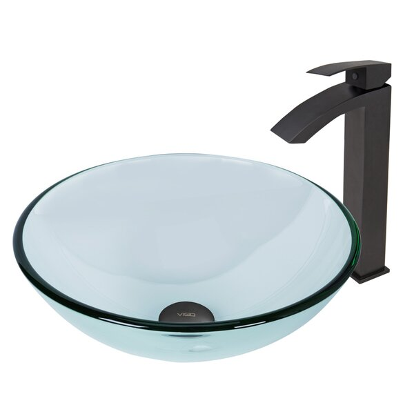 Crystalline Glass Circular Vessel Bathroom Sink with Faucet by VIGO
