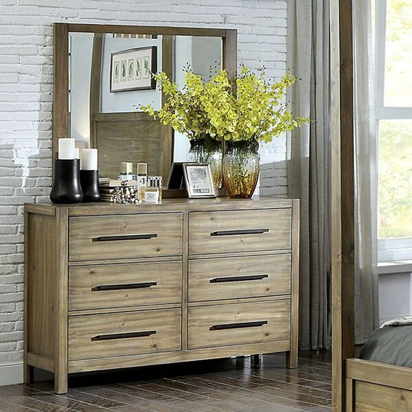 Glynda 6 Drawer Double Dresser with Mirror by Three Posts