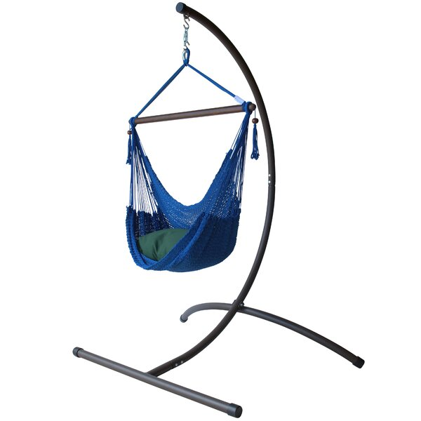 Caribbean Polyester Chair Hammock with Stand by KW Hammocks
