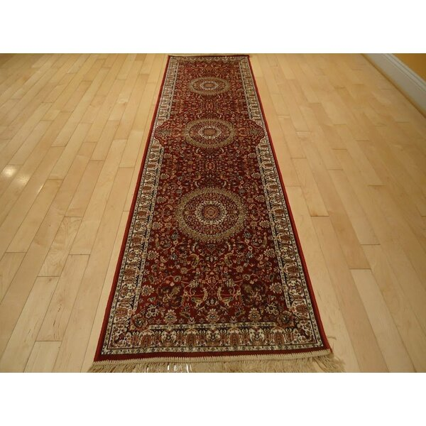 Shanelle Living Room Hand-Knotted Silk Red Area Rug