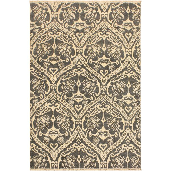 One-of-a-Kind Lusk Hand Knotted Wool Gray/Tan Area Rug by World Menagerie