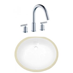Inexpensive Ceramic Oval Undermount Bathroom Sink with Faucet and Overflow By American Imaginations