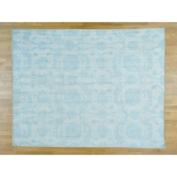 One-of-a-Kind Bean No Border Design Transitional Hand-Knotted Ivory Wool Area Rug by Isabelline