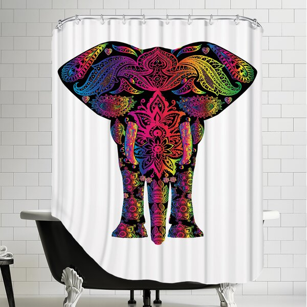 Decor Elephant Polyester Animal Colorful Shower Curtain by East Urban Home