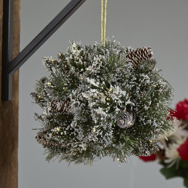 Pine Pre-Lit Kissing Ball with 35 Warm White LED Lights by Darby Home Co