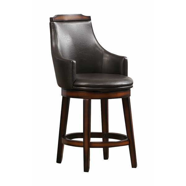 Reeder Wood/Leather 24 Swivel Bar Stool (Set of 2) by Loon Peak
