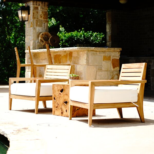 Catalina Dahlia Teak Patio Chair with Cushions by Hives and Honey