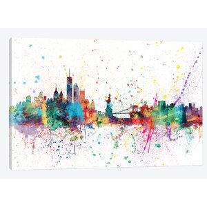 Rainbow Splash Skyline Series: New York City, New York, USA Painting Print on Wrapped Canvas by East Urban Home