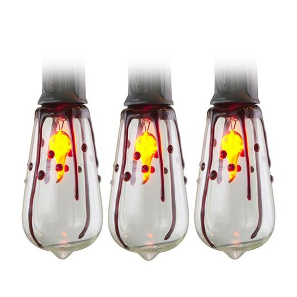 10 Light Edison Flicker Flame Dripping Blood Set by Penn Distributing