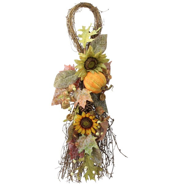 Artificial Sunflowers, Pumpkins, Pinecone, Maple Leaves and Berries Fall Festive Harvest Display Teardrop by Admired by Nature