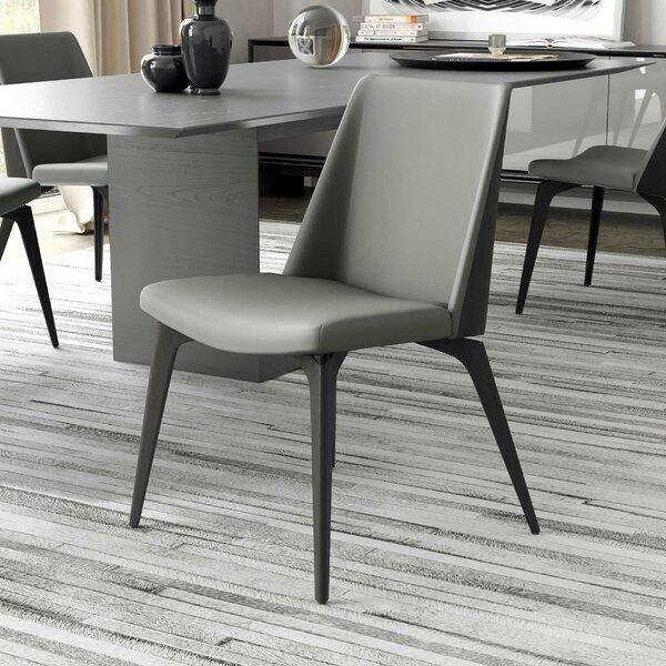 Leather Upholstered Side Chair By Modloft Black