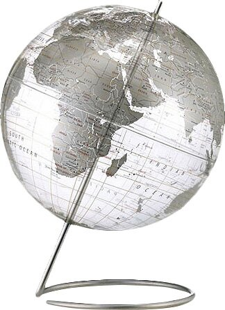 Crystal Marquise Transparent Silver World Globe by