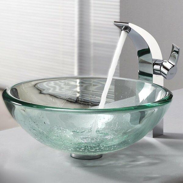 Clear Glass Glass Circular Vessel Bathroom Sink by Kraus