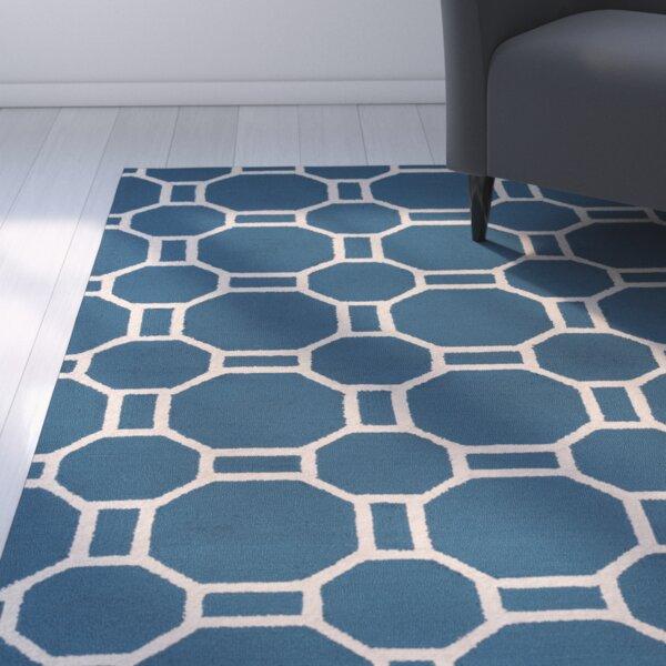 Evangeline Hand-Tufted Marine Blue Indoor/Outdoor Area Rug by Ebern Designs