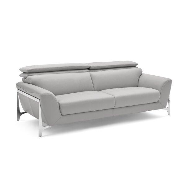 Binghampton Leather Sofa by Orren Ellis