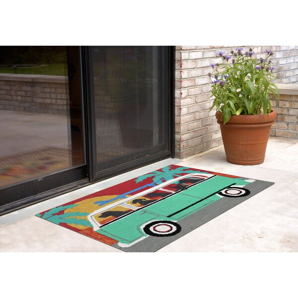 Thomasina Beach Trip Turquoise Indoor/Outdoor Area Rug by Highland Dunes