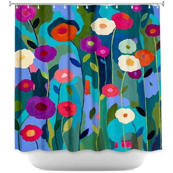 Good Morning Sunshine Flowers Shower Curtain by DiaNoche Designs