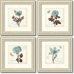 'Touch of Blue' by Katie Pertiet 4 Piece Framed Graphic Art Set by Amanti Art