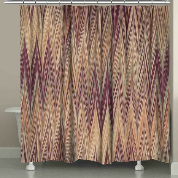 Harvell Muted Chevron Shower Curtain by Ebern Designs