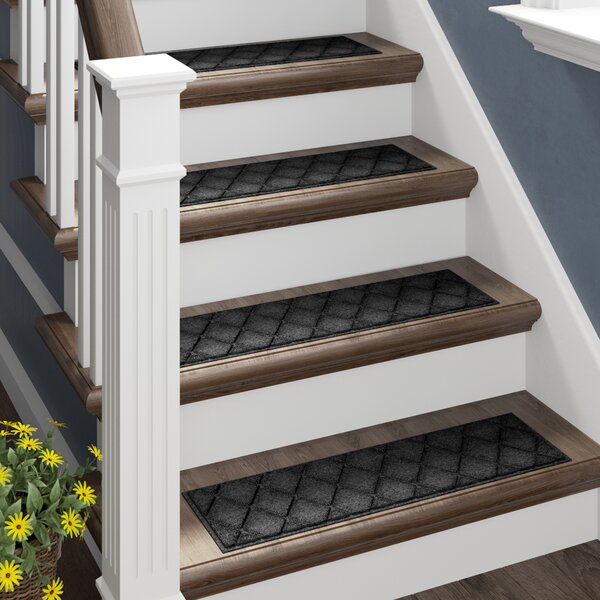 Aqua Lindo Charcoal Argyle Stair Tread (Set of 4) by Darby Home Co