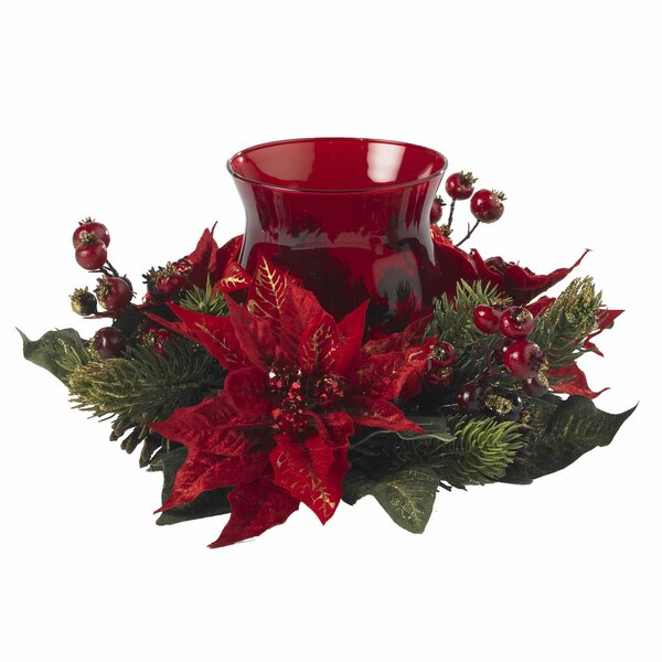 Poinsettia and Berry Centerpiece by Three Posts