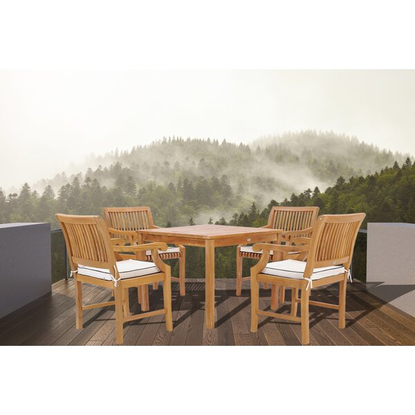 Dayne 5 Piece Teak Dining Set with Cushions by Bay Isle Home