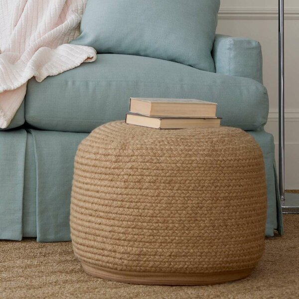 "Braided Natural Indoor/Outdoor Pouf 20""W x 14""H by Fresh American"