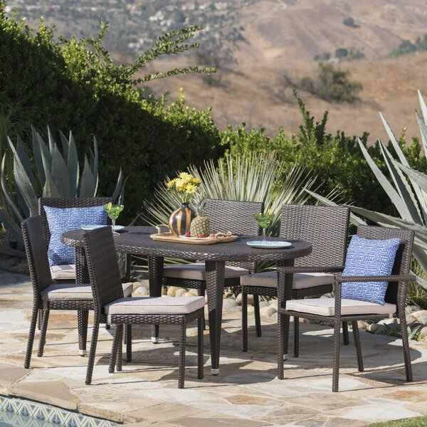Byrne Outdoor 7 Piece Dining Set by Wrought Studio