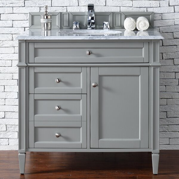 Deleon 36 Single Urban Gray Marble Top Bathroom Vanity Set by Darby Home Co