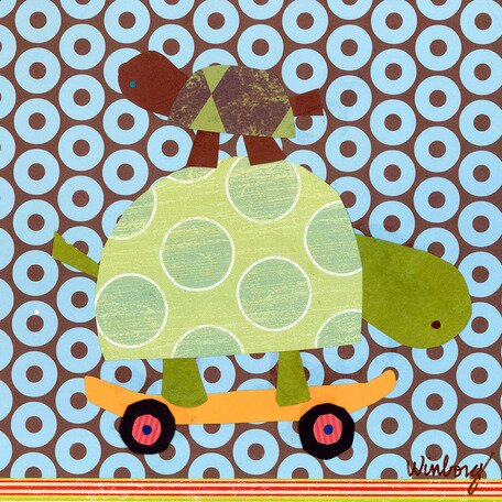 Skateboarding Turtles Canvas Art by Oopsy Daisy