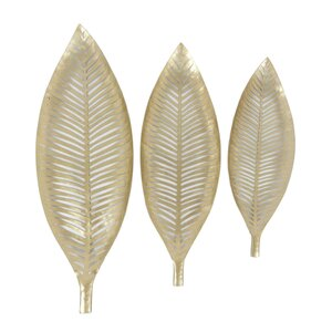 3 Piece Metal Decorative Leaf Accent Tray Set