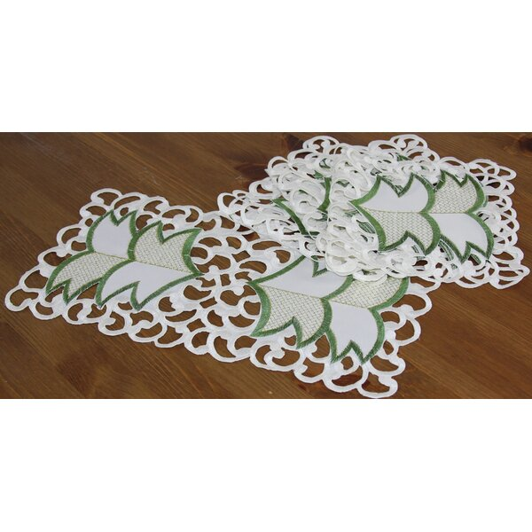 Tannenbaum Embroidered Cutwork Holiday Traycloth/Runner (Set of 4) by Xia Home Fashions