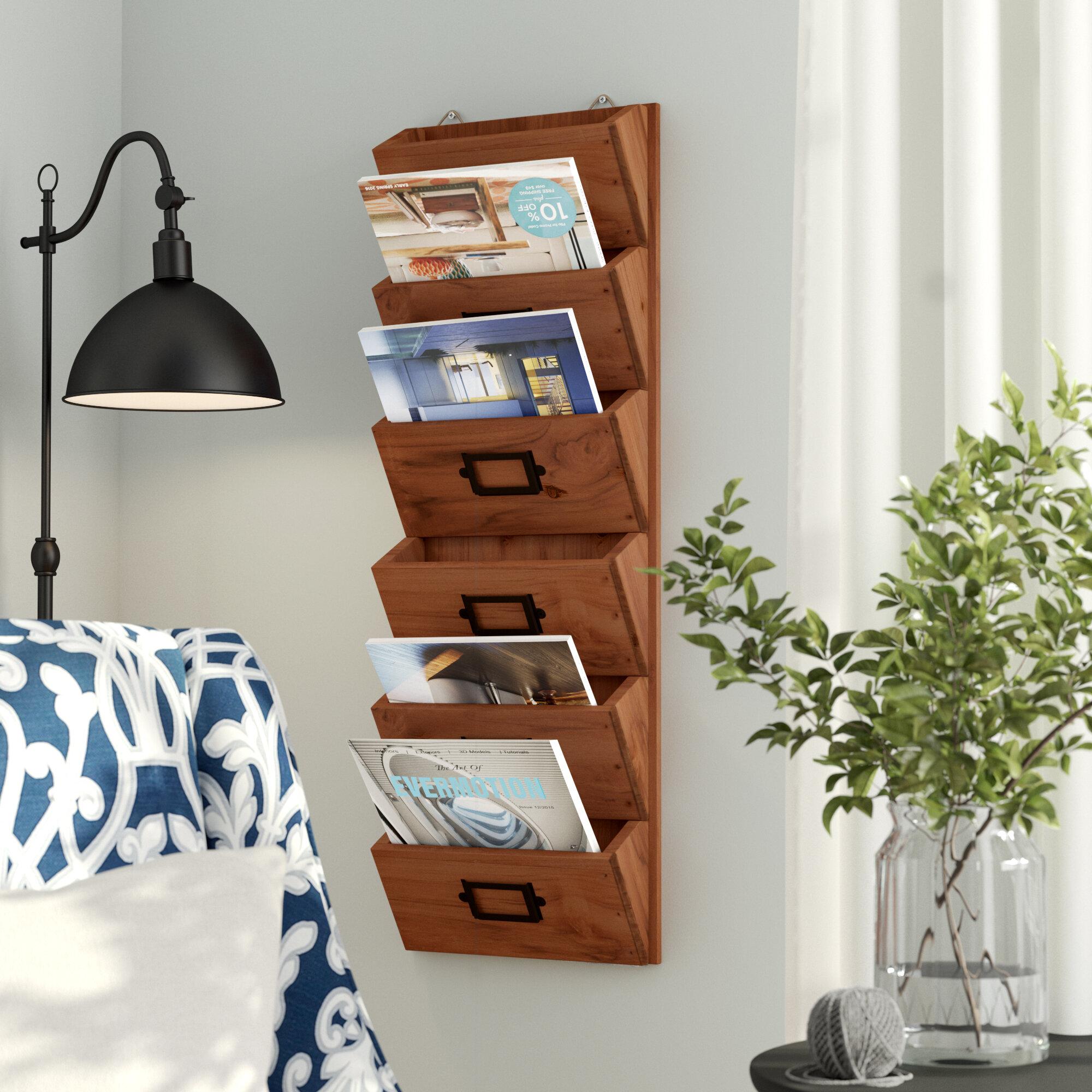 Natural Brown Wood Letter Post Rack Office Desk Tidy Letter Holder Organiser