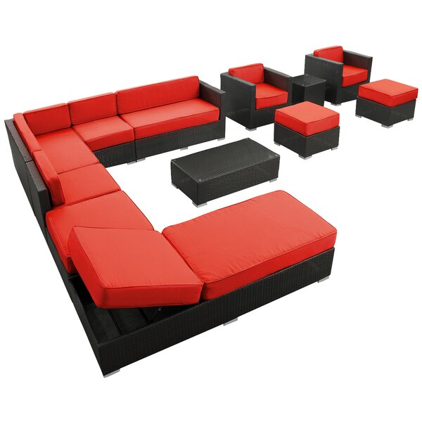 Fusion 12 Piece Rattan Sectional Set with Cushions by Modway