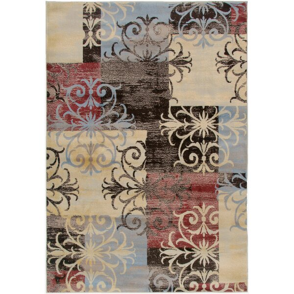 Culver Floral/Geometric Beige Area Rug by Threadbind