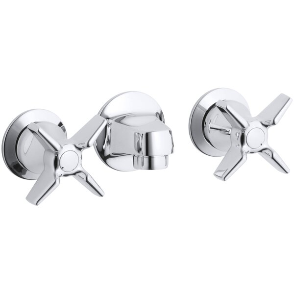 Triton Shelf-Back Commercial Bathroom Sink Faucet with Grid Drain and Cross Handles by Kohler