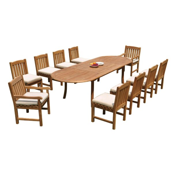 Justyn 11 Piece Teak Dining Set by Rosecliff Heights