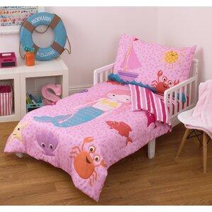 mermaid 4 piece toddler bedding set