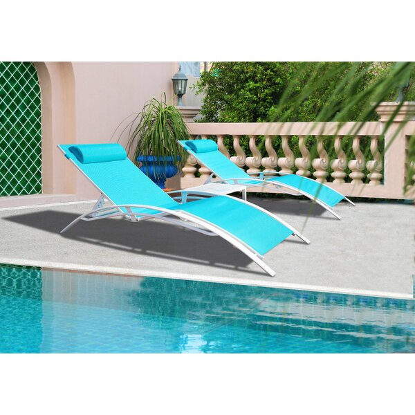 Travon Elegant Patio Adjustable Reclining Chaise Lounge (Set of 2) by Ebern Designs