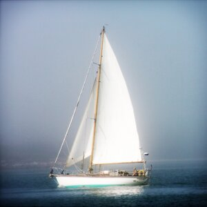 Sailboat into the Mist by Jobe Waters Photographic Print on Wrapped Canvas by Buy Art For Less