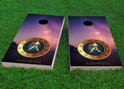 Zodiac Stars Aquarius Themed Cornhole Game (Set of 2) by Custom Cornhole Boards
