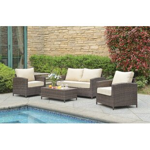 Buschwick 4 Piece Rattan Sofa Seating Group with Cushions ByGracie Oaks