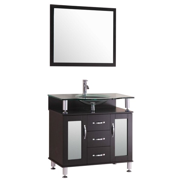 30 Single Glass Top Vanity Set with Mirror by LessCare